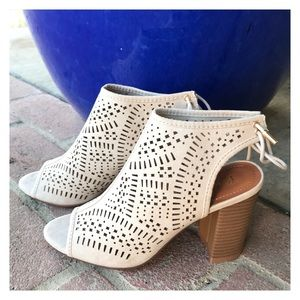 Shoes - New Arrival- Vegan Suede Open Toe Ankle Booties